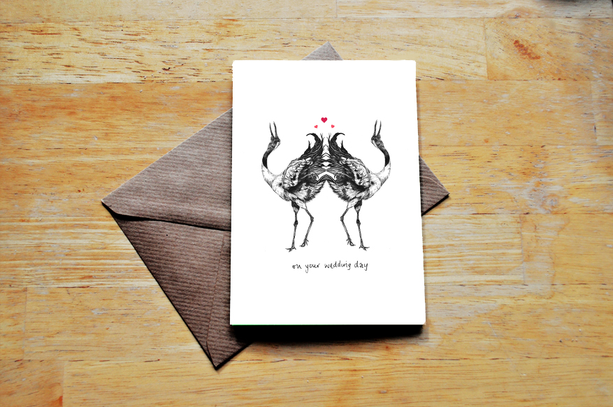 cranes wedding card sm